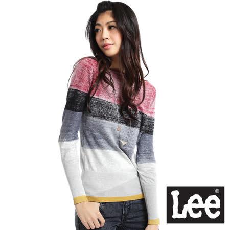 Lee Preppy Sport 校園風 一字領色塊拼接長袖針織衫-女款(灰)