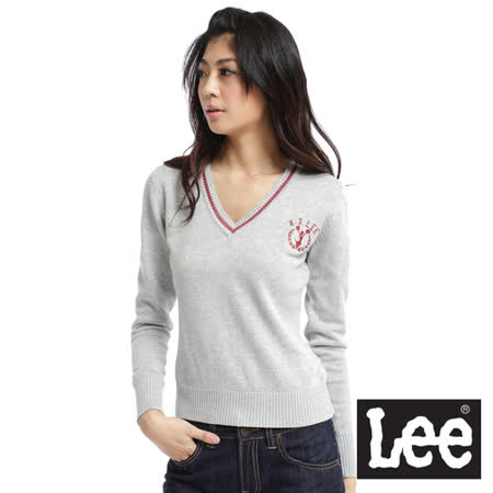 Lee Preppy Sport 校園風 V領金蔥刺繡長袖針織衫-女款(灰)