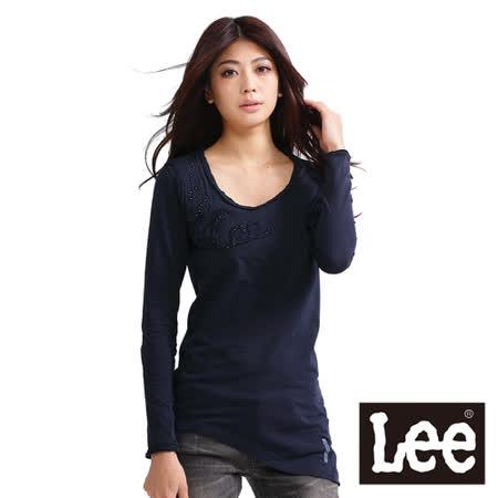 Lee 長袖長版T恤 U領鉚釘拼布文字拼接-女款(深藍)
