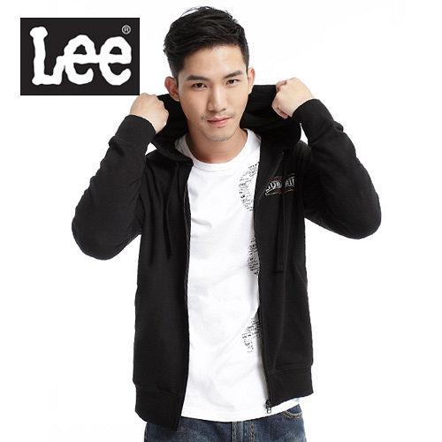 Lee 帥氣有型,背部圖案印刷連帽拉鍊外套~男款^(黑^)