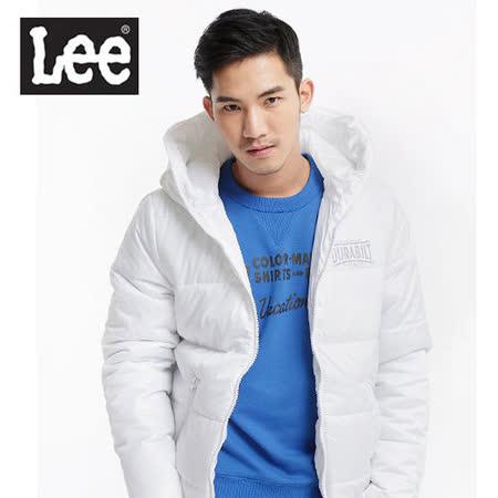 Lee 連帽拉鍊輕量鋪棉保暖外套-男款(白)