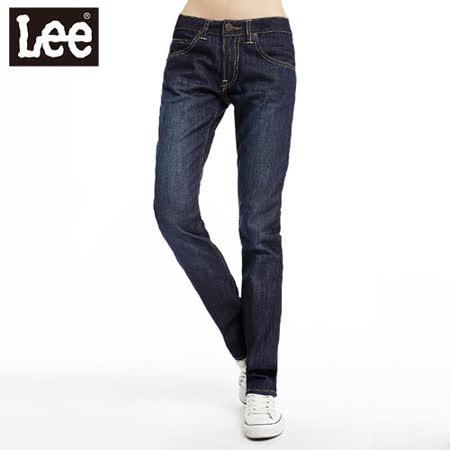 【Lee】時尚剪裁Melissa428中腰標準直筒牛仔褲 -女款(深藍)