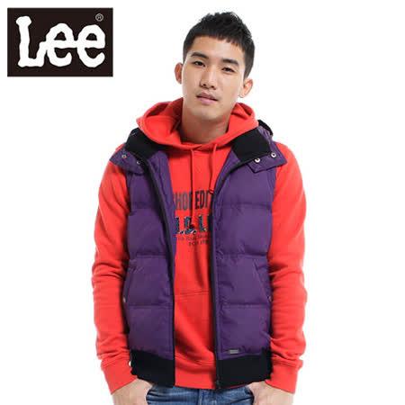 Lee 可拆帽防風保暖羽絨背心-男款(紫)