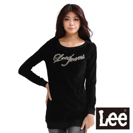Lee 長袖長版T恤 絨布穿珠字樣-女款(黑)