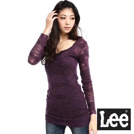 Lee 激情派對 V領長版亮片橫條點綴摟空針織衫-女款(紫)