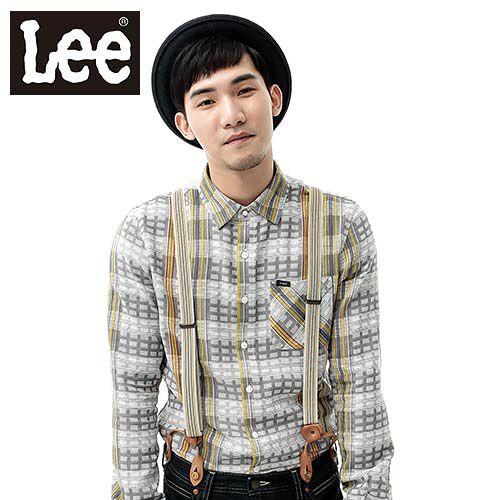 Lee 長袖襯衫 純棉格紋~男款 灰