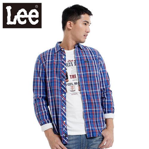 Lee 長袖襯衫 休閒襯衫~男款^(藍^) LL120108DYQ