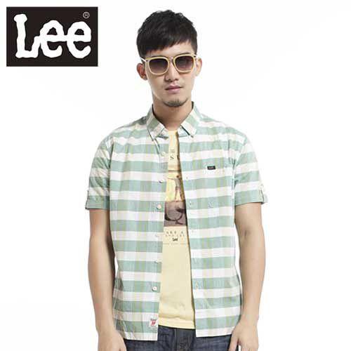 Lee 短袖襯衫格紋~男款^(黃綠^) LL120171T8C