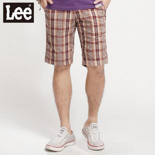 ~Lee~604 格子短褲~男款 橘色系