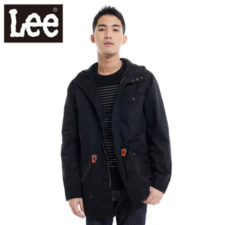 Lee 防風外套 連帽拉練長版-男款(黑) LL120382K99
