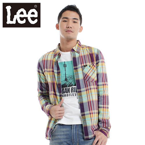 Lee 長袖襯衫 純棉格紋~男款 紫