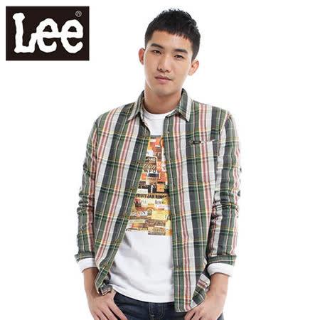 Lee 保暖長袖格紋襯衫-男款(綠)