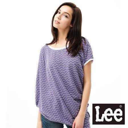 Lee 短袖T恤 不對襯拼接-女款(紫)