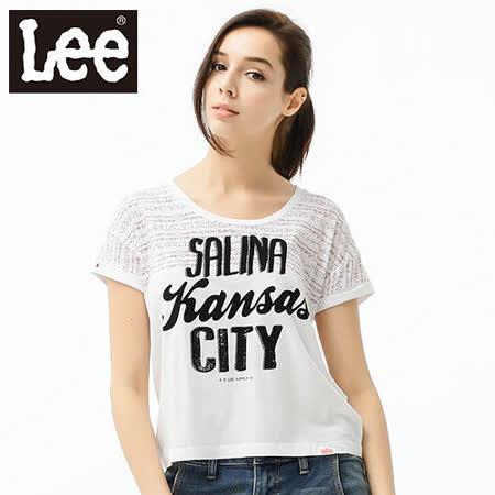 Lee 短袖T恤 圓領寬鬆短版-女款(白)