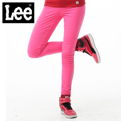 Lee 牛仔褲 419 低腰貼身窄管~女款 螢光桃紅