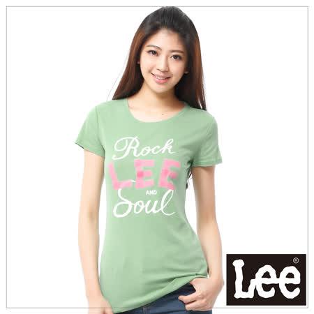 Lee 短袖T恤 粉紅LOGO印刷 -女款(草綠)