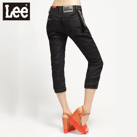 Lee 牛仔褲404 低腰綁帶褲腳縮口七分-女款(深藍)