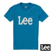 Lee 短袖T恤 淺灰LOGO印刷排汗質材 -男女款(藍)