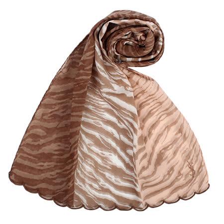 YSL 法式漸層斑馬紋薄棉抗UV圍巾-淺駝色