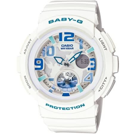 CASIO BABY-G BGA-190海灘旅行系列女錶-白
