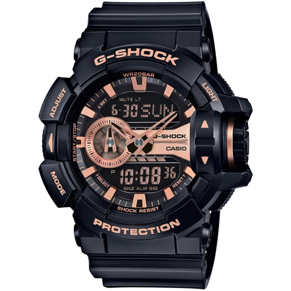 CASIO G~SHOCK 超 大錶徑GA~400系列腕錶~玫瑰金黑