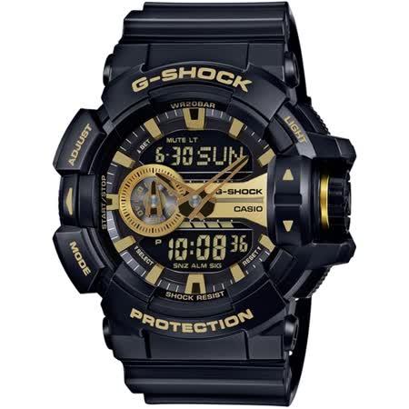 CASIO G-SHOCK 超人氣大錶徑GA-400系列腕錶-金/黑