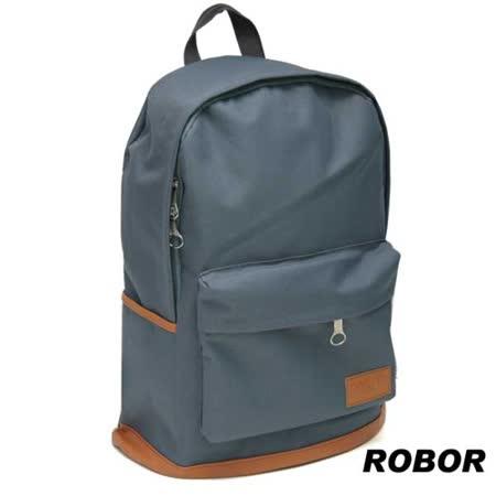 韓系型男ROBOR就愛簡約百搭時尚休閒風筆電後背包(藍灰)