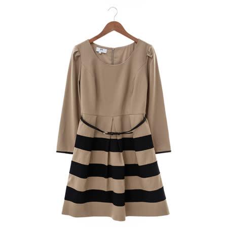 IRIS 條紋洋裝-咖黑