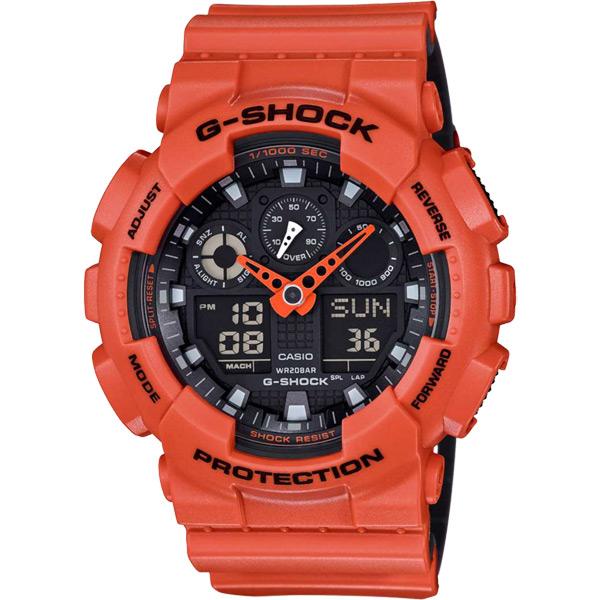 CASIO 卡西歐 G~SHOCK特別版玩色雙顯錶~橘51mm GA~100L~4ADR