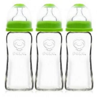 寶貝屋 PUKU 藍色企鵝 寬口卡哇伊玻璃奶瓶270cc ^(三入^) 綠色 p11525