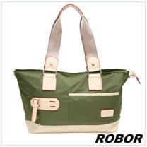 韓系型男 ROBOR韓版休閒百搭中性尼龍側背包旅行包(軍綠)