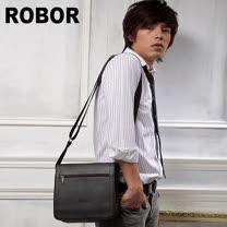 韓系型男 ROBOR 魅力時尚帥性斜側背包(中)(咖啡色)
