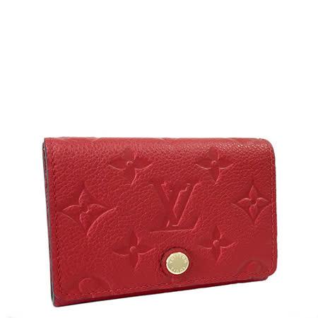 Louis Vuitton LV M58457 經典花紋皮革壓紋信用卡零錢包.紅_預購
