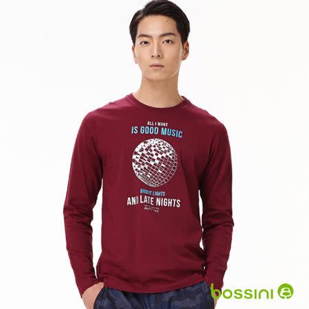 bossini男裝-印花長袖T恤07酒紅