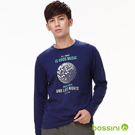 bossini男裝-印花長袖T恤07海軍藍