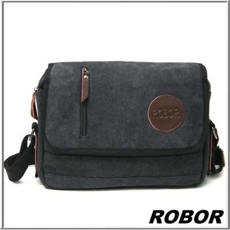 韓系型男 ROBOR極簡風格帆布側背包(可放10吋平板)(水洗黑)