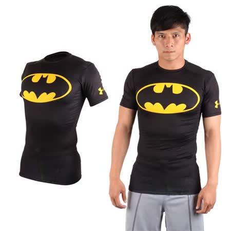 (男) UNDER ARMOUR 美國進口 HG短袖緊身衣-慢跑 路跑 超人 蝙蝠俠 UA 黑黃