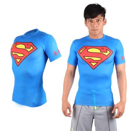 (男) UNDER ARMOUR 美國進口 HG短袖緊身衣-慢跑 路跑 超人 蝙蝠俠 UA 藍紅黃