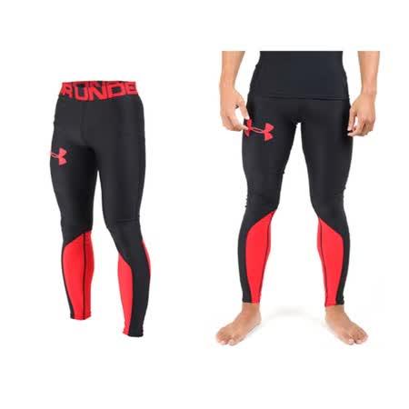 (男) UNDER ARMOUR 緊身長褲-慢跑 路跑 健身 束褲 保暖 刷毛 UA 黑紅 M