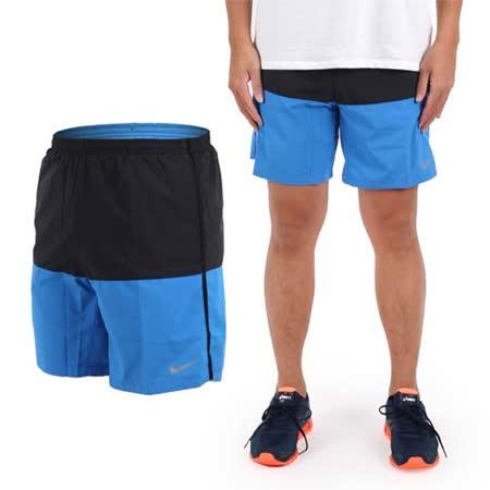 (男) NIKE 運動短褲-慢跑 路跑 黑寶藍