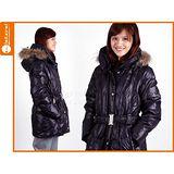 (女) WILDLAND 貉子毛單件式羽絨外套- 保暖 防寒 黑