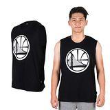 (男) NBA WARRIORS 勇士隊-印花圓領背心 -籃球背心 球衣 籃球服 黑白