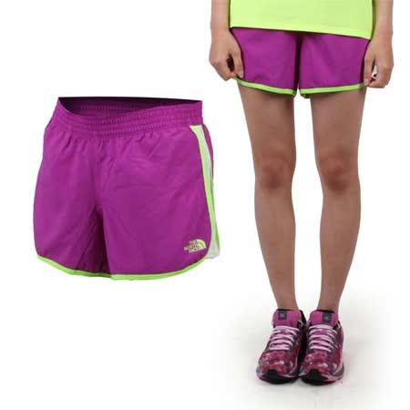 (女) THE NORTH FACE 運動短褲-慢跑 路跑 休閒短褲 紫螢光綠 XS