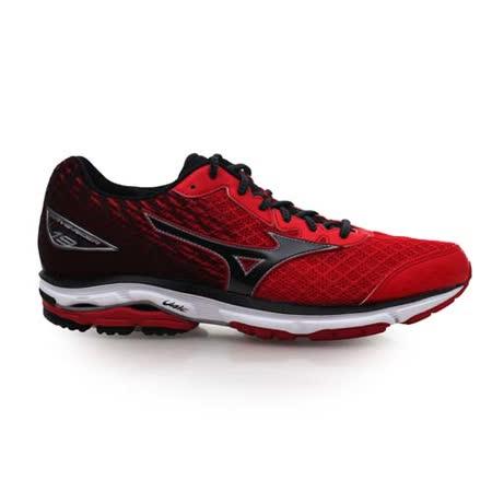(男) MIZUNO WAVE RIDER 19 慢跑鞋-慢跑 路跑 美津濃 紅黑 28