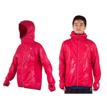 (男) PUMA 連帽外套-防風外套 紅銀 XL