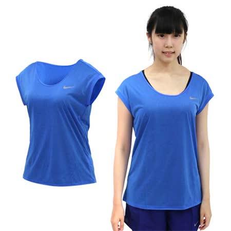 (女) NIKE 短袖針織衫 -T恤 短T 路跑 慢跑 水藍銀