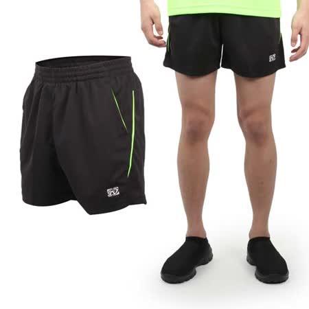 (男) FIRESTAR 休閒短褲-慢跑 路跑 運動褲 台灣製 黑螢光綠