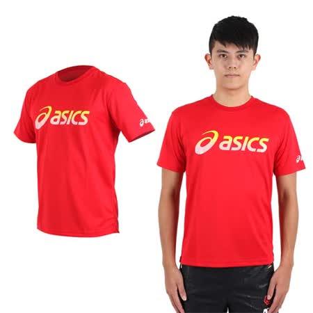 (男) ASICS 運動排汗短袖T恤- 慢跑 路跑 亞瑟士 紅黃