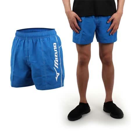 (男) MIZUNO SWIM 海灘褲 - 游泳 海灘 休閒 亮藍白