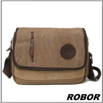 韓系型男 ROBOR極簡風格帆布側背包(可放10吋平板)(棕色)